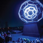 Leo Villareal, Buckyball, 2012, Aluminum tubing clad with LED lights atop aluminum plinth, 30 ft. x 144 in. x 144 in. (914.4 x 365.8 x 365.8 cm)